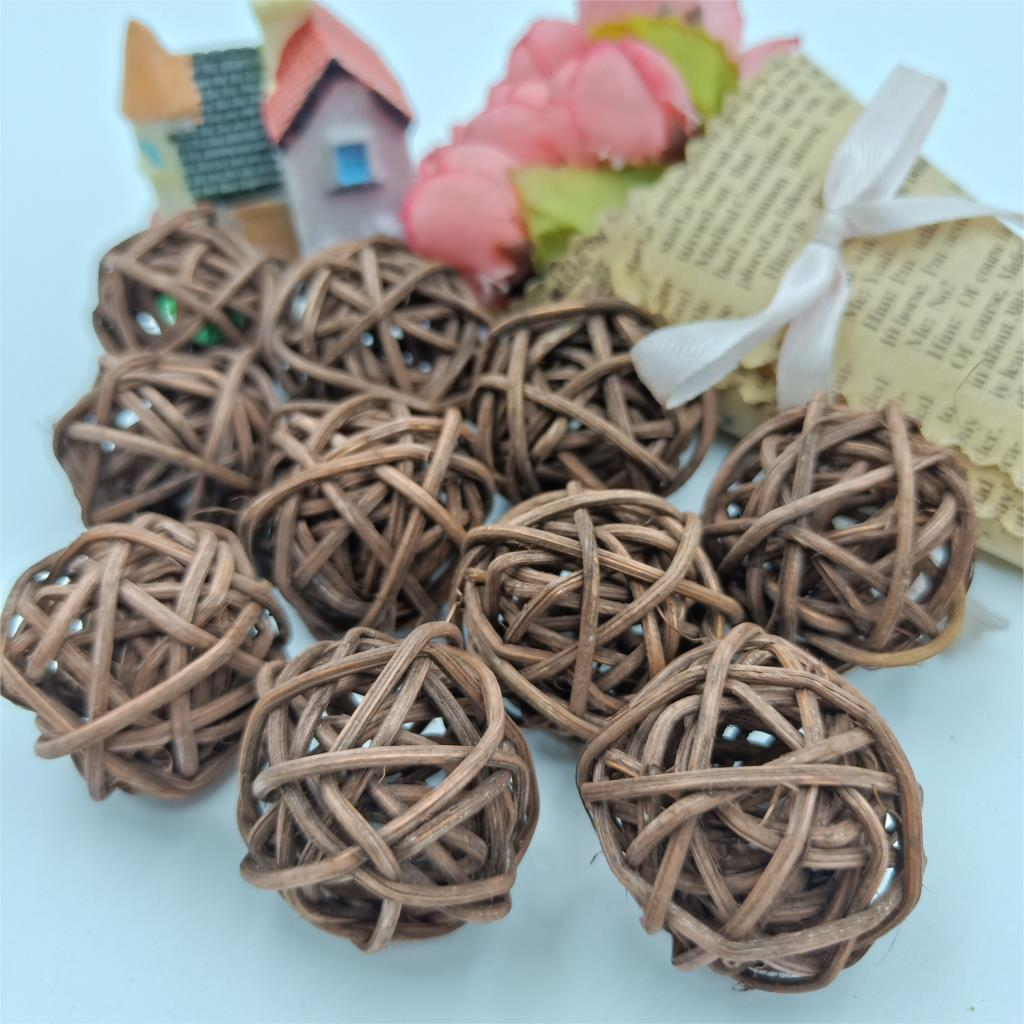 10pcs 3cm Brown Coffee Sepak Takraw Rattan Balls LED String Fairy Lights Garden Christmas Wedding Party Decoration Lights