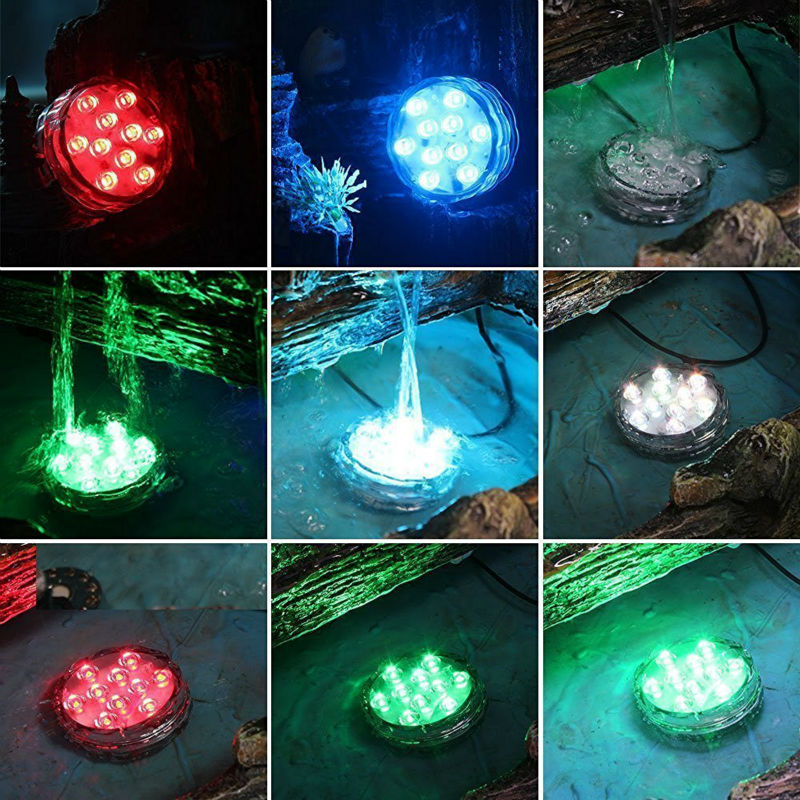 (4 PCS/lot)Multi-color Changing Submersible LED Light Battery Operated Fountain Light Spotlight With Remote Indoor Decoration