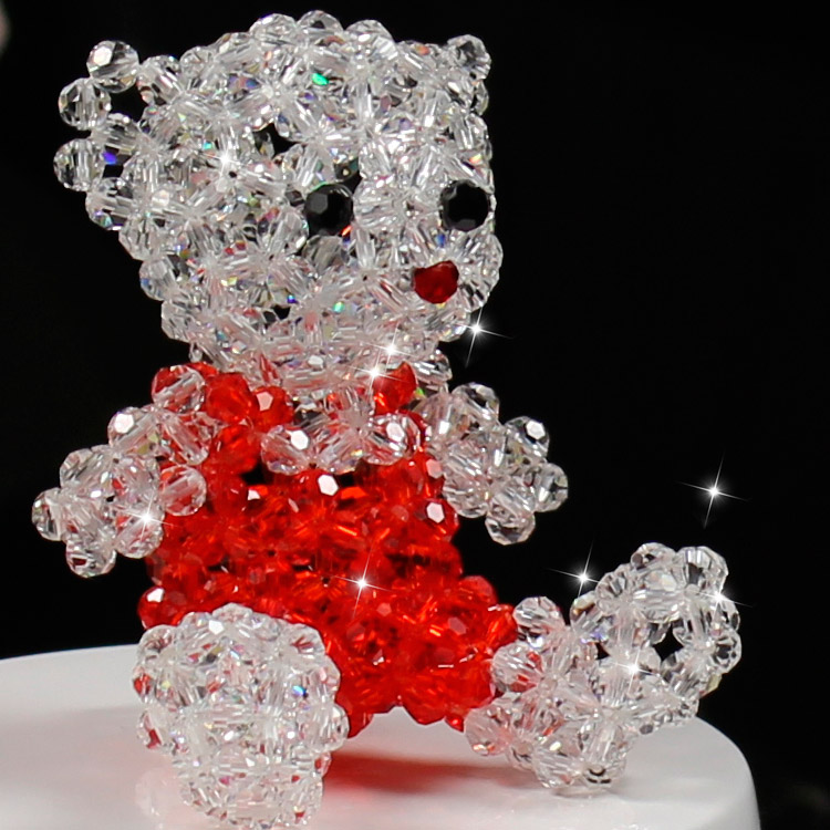 Hand knitting crystal beads craft crystal winnie Bear christmas gifts good quality with gift box packed best friend gifts