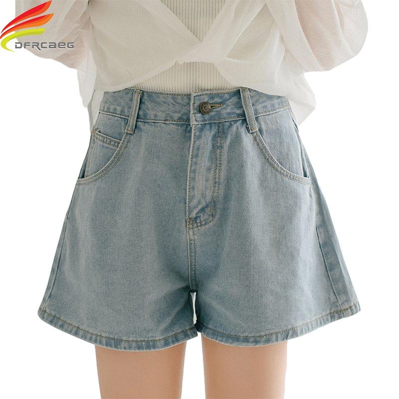 Women Denim   Shorts   2019 Wide Leg High Waist Cuffed Jeans   Shorts   Street Wear White Blue   Short     Shorts   For Summer Spring Autumn