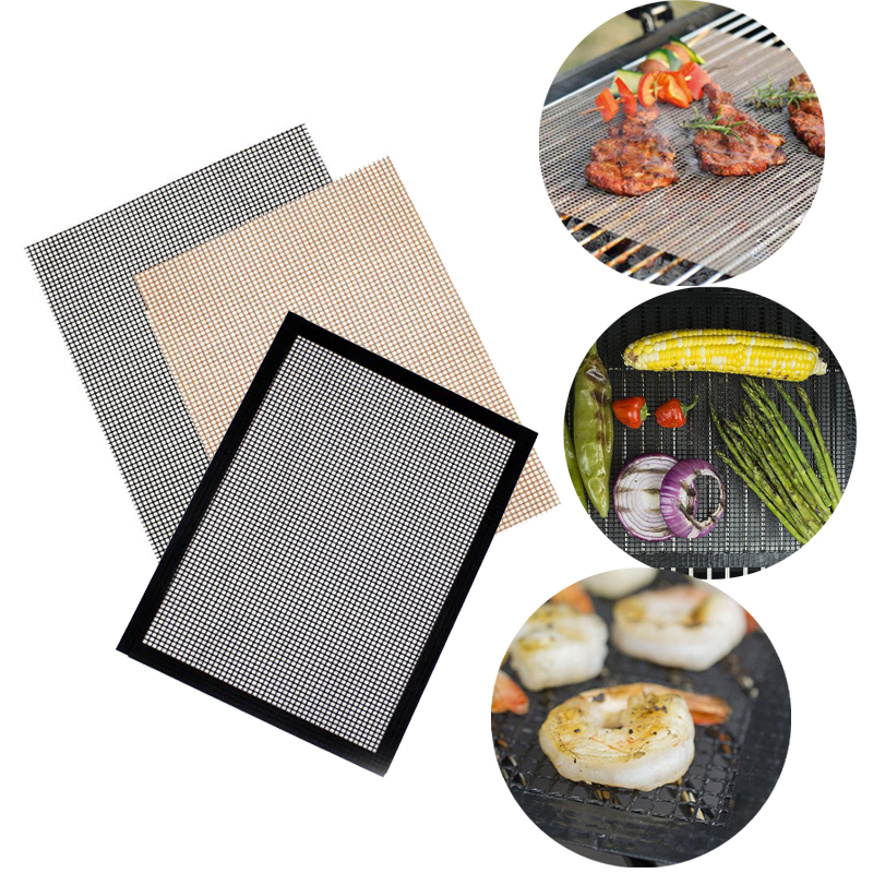 Bright Non Stick Bbq Grill Mat Mesh Glass Fiber Bakeware Churrasco Roaster Cooking Tools Nonstick Grilling Mats Wire Mesh Oven Pad Beautiful And Charming Garden Supplies Bbq