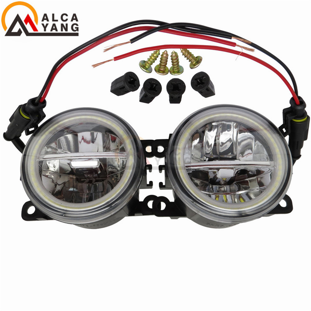 Car Styling 90mm Round Front Bumper Fog Lamps For Nissan Navara Note Pathfinder Pixo Armada Interstar 2002-2013 Angel Eye 6000k 12v car styling for nissan navara d40 note e11 pathfinder r51 pixo ua0 drl fog lamps lighting led lights 9w 1 set