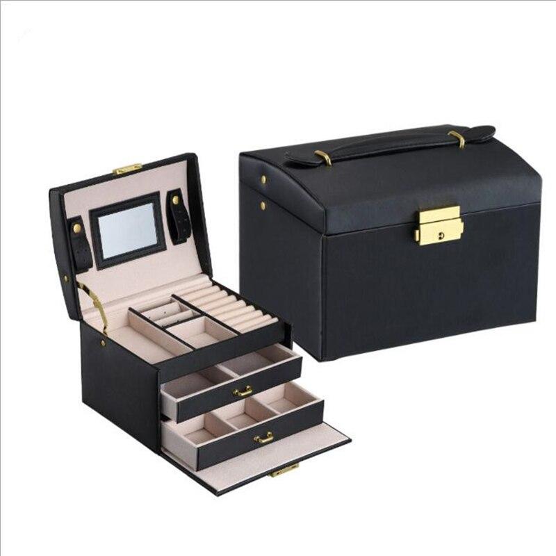 Grand emballage de bijoux et boîte d'affichage PU cuir multi-couche boîte à bijoux collier boîte à cosmétiques boite à bijoux organisateur haut de gamme