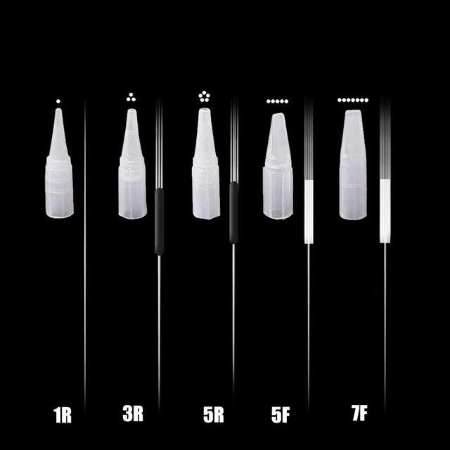 100pcs 1RL/3RL/5RL/5F/7F Disposable Permanent Makeup Needles Tattoo Needles/Big nozzle for Eyebrow Tattoo Makeup Kits 0.35X50MM