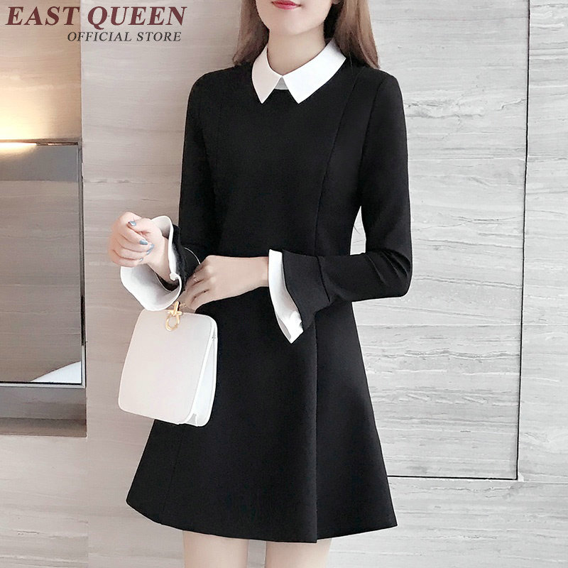 Black dress with white collar women white collar dress for school long sleeve black dress white collar tunic bodycon KK866 Y