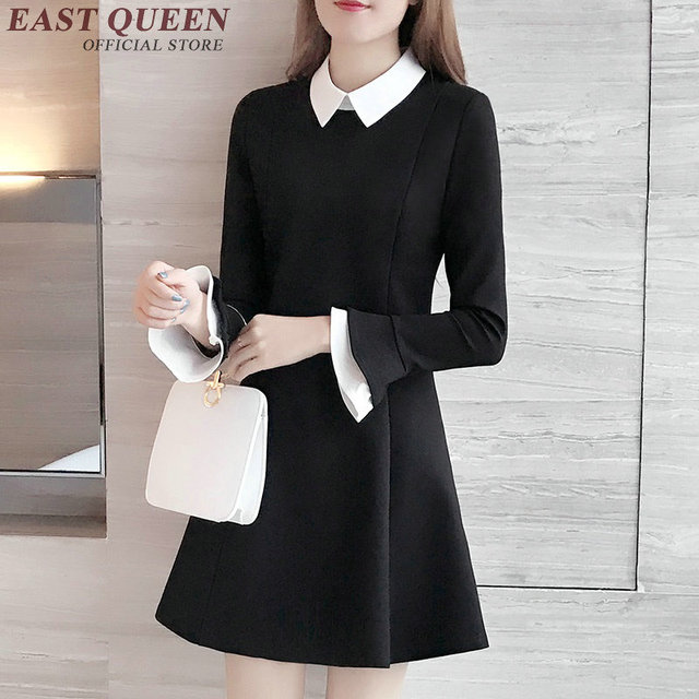 38a936b6dc7e € 43.36 45% de DESCUENTO|Vestido negro con cuello blanco mujeres vestido de  cuello blanco para la escuela de manga larga vestido negro Cuello Blanco ...