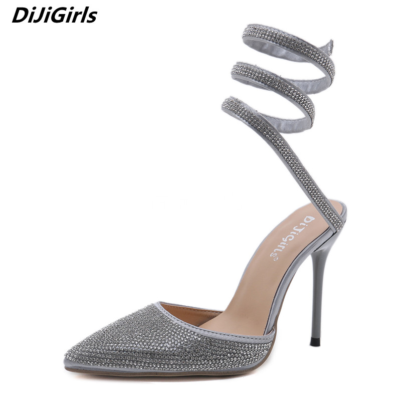 514c63f1cc66 DiJiGirls New Design Women Pumps Shiny Rhinestone Sandals Sexy Pointed Toe  Serpentine Winding Ankle Belt High Heels Party Shoes-in Women s Pumps from  Shoes ...