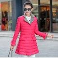 Женская пуховая куртка 2015 новые зимние куртки и пальто стенд воротник длинный толстый пальто женский однобортный вниз пальто Q307