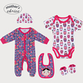 Mother's Choice 100% cotton Christmas Sets Baby 5pcs Set  Baby long and short-sleeve Rompers, Bib, Beanie, and Booties