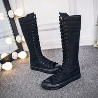 Sexy Lace Up Over Knee Boots Women rome style Boots Women Flats Shoes Woman canvas Boots Winter Thigh High Boots 35 43 B1 98