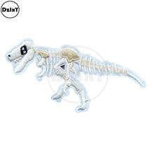 Dinozor fosil nakış yamaları çizgili sırt çantası çıkartmalar kumaş demir on giysi hayvanlar kemik aplikler @ F-35