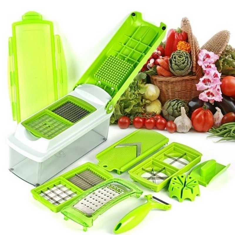 12pcs ABS Vegetable Slicer Vegetable Grater Gadget Friut Cutter Portable Stainless Steel BladesMultifunctional Nicer Dicer Plus