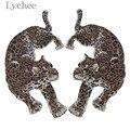 Lychee Life 1 пара леопардовых нашивок с вышивкой, аппликации с животным дизайном для шитья своими руками, материалы для шитья пальто, куртки, джи...