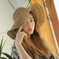 2016 nuevo Ahueca Hacia fuera el sombrero para el sol sombreros de verano para mujeres chapeu paja del sombrero del cubo cap chapeau toca feminino femme 1 unids al por mayor