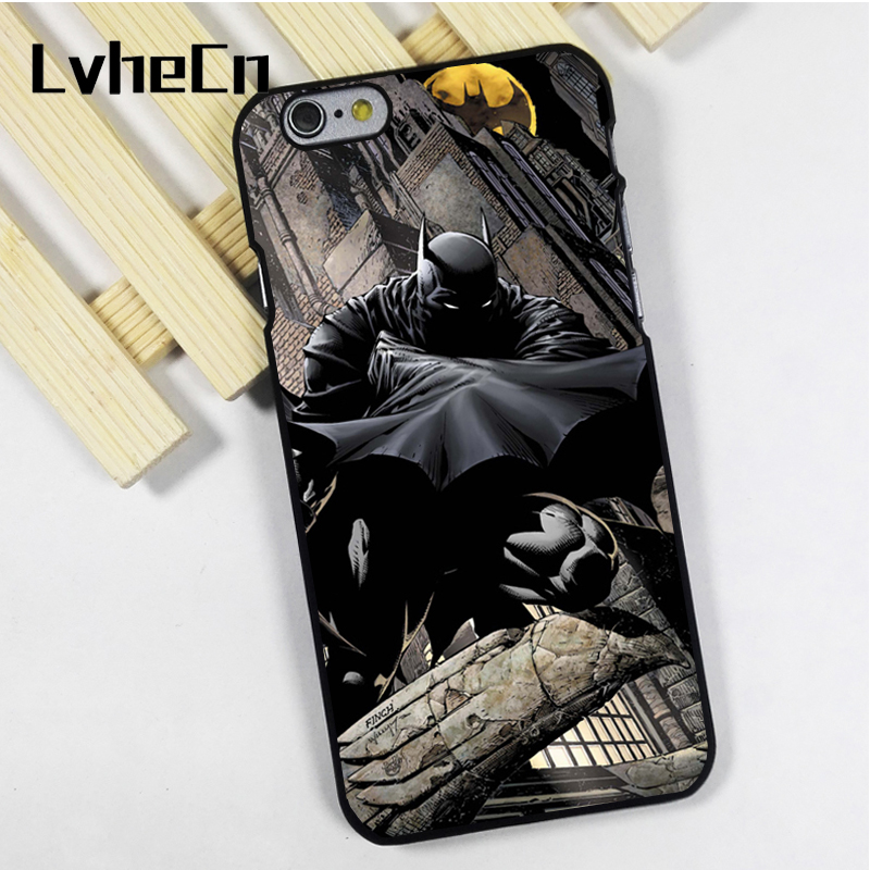 LvheCn phone case cover fit for iPhone 4 4s 5 5s 5c SE 6 6s 7 8 plus X ipod touch 4 5 6 Batman Dark Night Gotham Comic Book Art