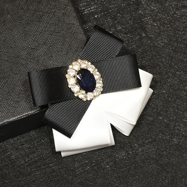 i Remiel Ribbon Bow Brooch Crystal Flower Pins and Brooches Bowtie Broaches  Lapel Pin Badge Tie For Women Men Suit Accessories-in Brooches from