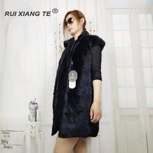 ΔΩΡΕΑΝ ΝΑΥΤΙΛΙΑ RuiXiangTe γυναίκες πραγματική γούνινο γούνινο γιλέκο υψηλής ποιότητας αναστρέψιμη γούνα βιζόν γούνινο μήκος 90cm βιζόν με φανελάκι