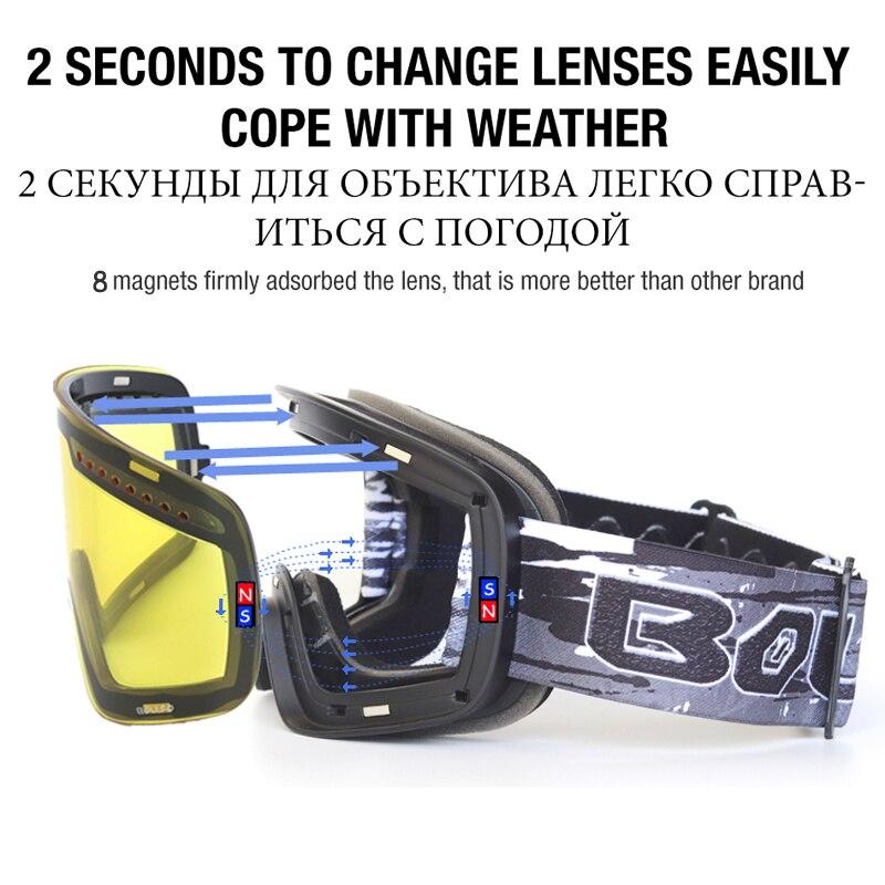 59631031758fa Se tornar um fãs para obter um extra de 2% de desconto. Quick-change Lens  Óculos De Esqui Com Caso Magnético UV400 Lente Dupla Anti-nevoeiro ...
