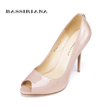 High heels pumps shoes Genuine patent suede leather Peep Toe shoes woman Black Pink color 35-40 Free shipping BASSIRIANA