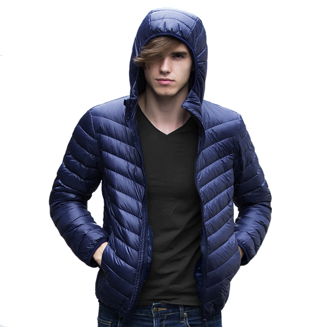 Men Down Jacket Fashion Men Ultralight Warm Black Hooded Light White Duck Down Jacket Men Portable Casual Young Men Down Coat