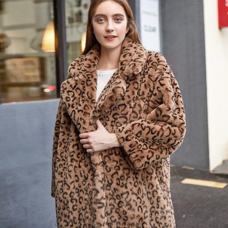 Cálido Suelto Nagodo Elegante Leopard Estampado Leopardo Piel Traje  Feminino Cuello Grueso Abrigos Abrigo Invierno Mujer ... fb1dc8ea803