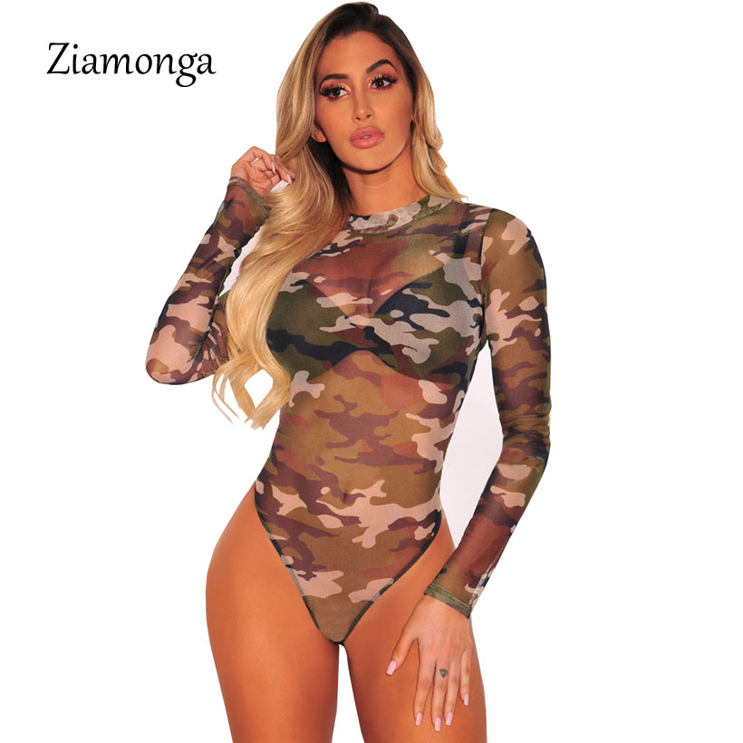 58a566237dd7 Ziamonga 2018 Women Bodysuit Long Sleeve Mesh Camouflage Print Rompers  Ladies Lace Bodysuit Top Macacao Body