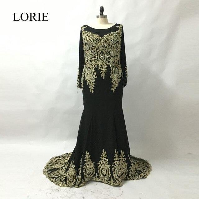 Plus Size Muslim Long Sleeve Evening Dresses 2018 Lace Appliques Formal  Black Chiffon Long Prom Party Gowns robe de soiree 02b6945fb107