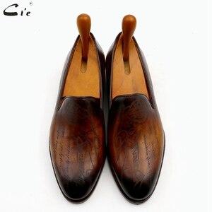 Image 4 - Cie patine en cuir de veau marron à bout rond pour hommes, mocassins respirants, fait à la main, LO04