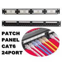RJ45 CAT 6 Ethernet Network LAN Adapter Connector Cable Mount Bracket 24 Port/Wst CAT5E Patch Panel 1U for 19 Inch Rack Mount