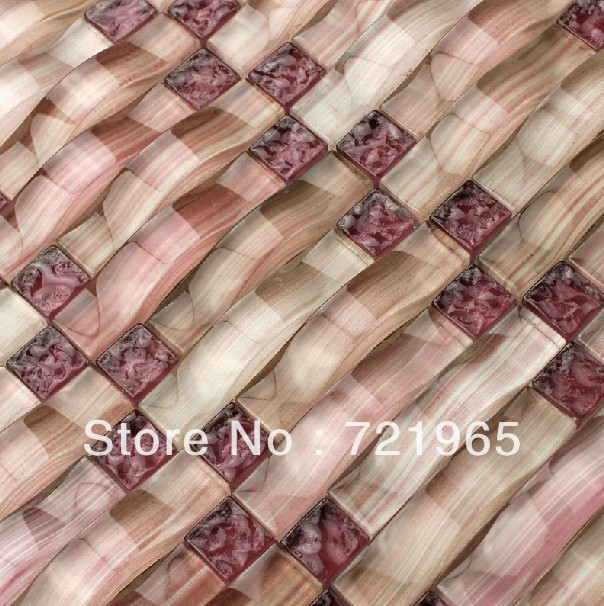 Decor Mesh Arched Glass Mosaic Tile Backsplash Cgmt091 Purple Glass - Purple-mosaic-bathroom-tiles