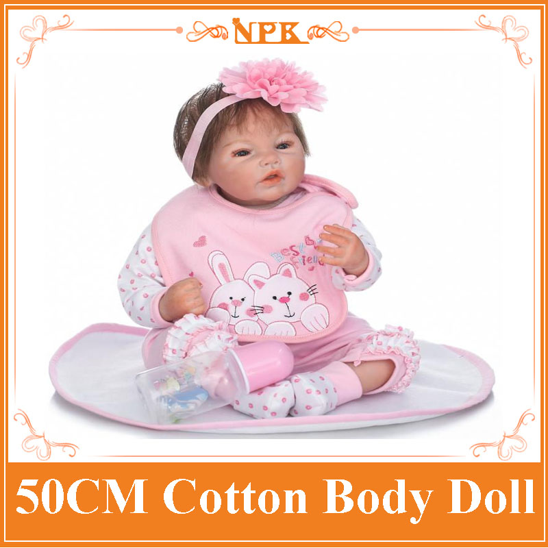 50cm NPK Vivid Silicone Reborn Baby Dolls Silicone Limbs+Cotton Body Doll In Lovely Pink Clothes Kids Playmate Toys Brinquedos 17 42cm bebe bouquets doll soft cloth body lovely baby silicone reborn baby dolls npk