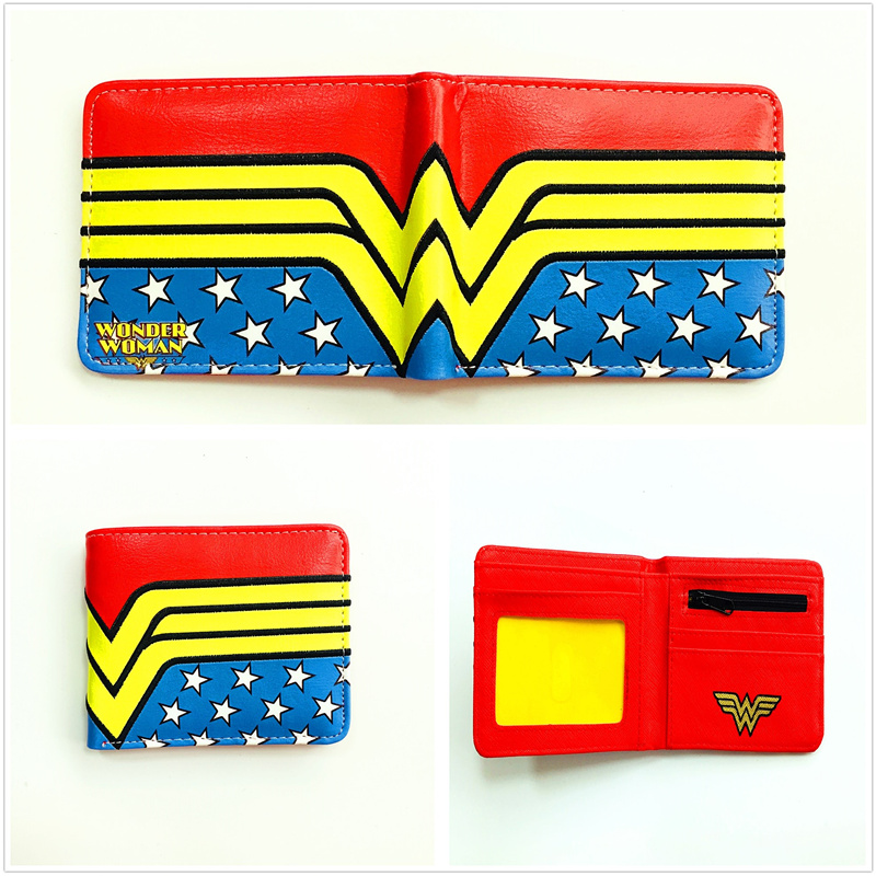 2018 New Arrivel Marvel Comics Wallet Wonder Woman Wallet Short PU Leather Purse Bi-fold Card Holder Purse for Teenager W1100Q 2016 new arriving pu leather short wallet the price is right and grand theft auto new fashion anime cartoon purse cool billfold