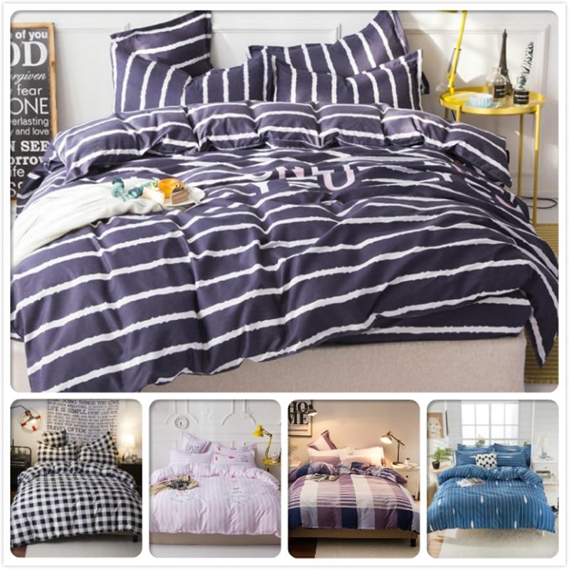 2018 New Creative Stripe Blue Duvet Cover 3/4 Pcs Bedding Set Kids Child Cotton Soft Bed Linens 1.5m 1.8m 2m 2.2m 2.3m Bedlinens Power Source