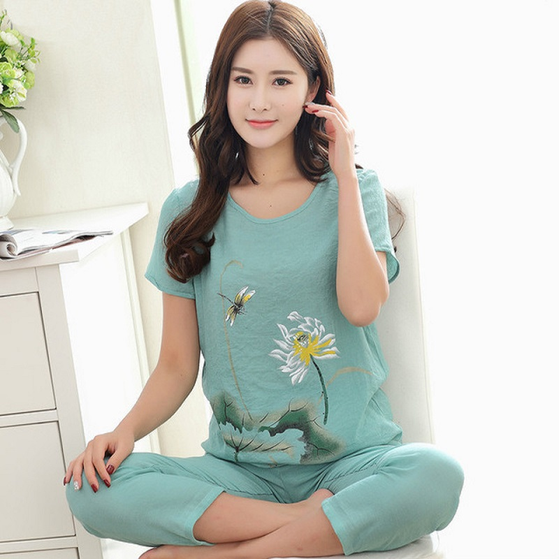 New Print Female   Pajamas     Set   Sleepwear Chinese Women Cotton Linen Pyjamas Suit Flower Nightwear Summer Floral Casual Loose Suit
