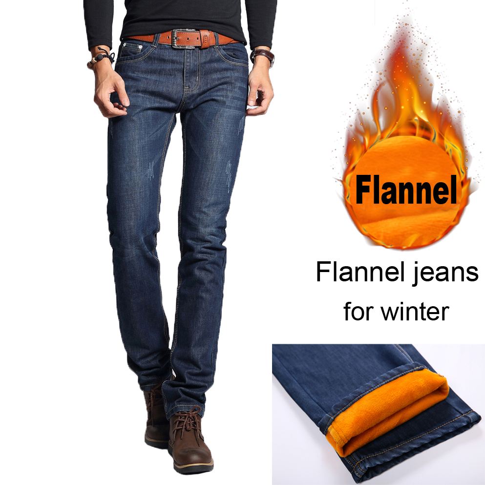 NIGRITY Winter Men's Fashion Flannel Jeans For Young Men Sale Men's Fleece Pants Casual Straight Trousers Plus Size 28-40