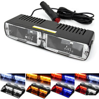 16 LED Red Blue Car Police Strobe Flash Light Dash Emergency 18 Flashing Light