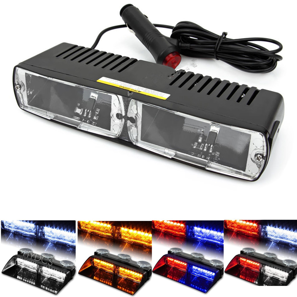 CYAN SOIL BAY 16 LED Red/Blue Car Police Strobe Flash Dash Emergency 18 Flashing 16LED Light 16 LED White Amber Green Yellow cyan soil bay blue white 8 led 8led car emergency dashboard dash strobe lights police warning flash