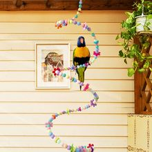 Colorful 1.0M Parrot Toy Bird Products Beads Accessories Spiral Stairs Parrot Swing Practice Articles Small Bird Accessories(China)