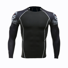 2018 Mens MMA Fitness T Shirts Fashion 3D Teen Wolf Long Sleeve Compression Shirt Bodybuilding Crossfit