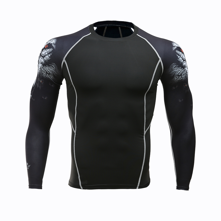 2018 Mens MMA Fitness   T     Shirts   Fashion 3D Teen Wolf Long Sleeve Compression   Shirt   Bodybuilding Crossfit Brand Clothing Fitness