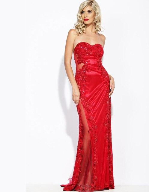 34ac073ac Largo vestido de noche rojo 2015 elegante mermaid partido del cordón  vestidos mujer embarazada formal vestidos