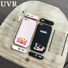 UVR Cartoon Cool Panther 3 in 1 360 Full Protect Case Cover Coque Funda for iPhone 6 6S 7 Plus 8 Tempered Glass Screen Protector(China)