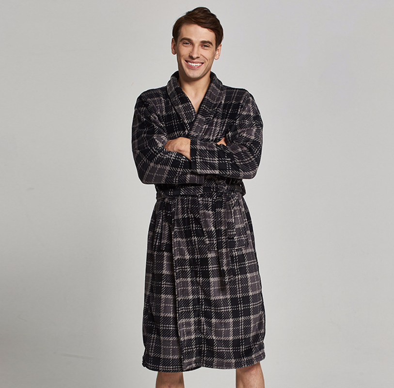 Autumn men bathrobe simple style gray grid homewear mans bath robe 3XL