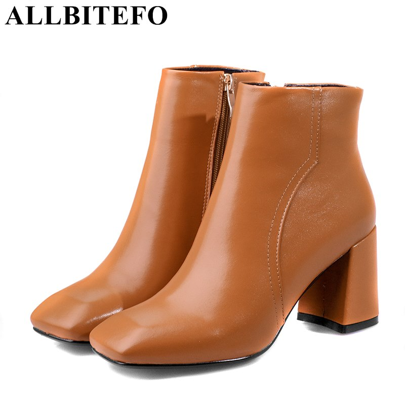 ALLBITEFO square toe genuine leather medium heel martin boots brand thick heel ankle boots woman women boots girls shoes selens pro 100x100mm 12nd square medium