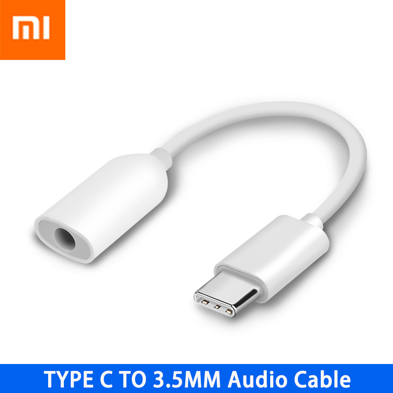 Original Xiaomi Earphone Adapter USB3.1 Type C To 3.5mm Female Cable Music Headphone Connector Converter MI 9 6 6X 8 8SE Note 3-in Mobile Phone Cables from Cellphones & Telecommunications