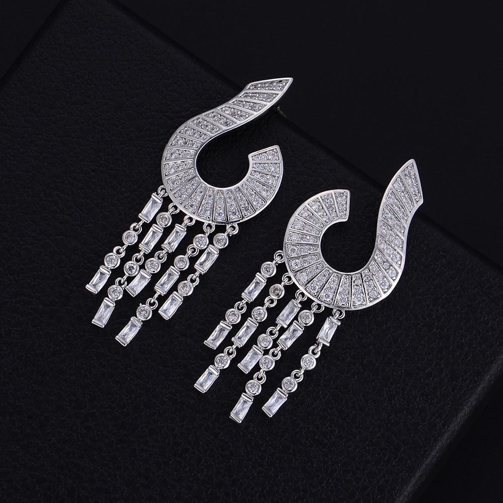 GODKI 55mm Famous Brand Luxury Question Mark Tassels Cubic Zirconia Naija Wedding Party Earring Fashion Jewelry for Women