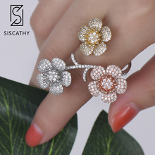 Siscathy Fashion Three Flowers Blosssom Resizable Women Bridal Wedding Ring AAA Cubic Zirconia Inlaid Adjustable Jewelry