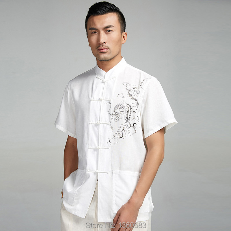 High-quality Summer kung fu shirt Chinese style men's tang suit tops Cotton Linen wing chun clothing with short sleeves for male new style black casual loose men s pant chinese male cotton linen kung fu trousers plus size s m l xl xxl xxxl