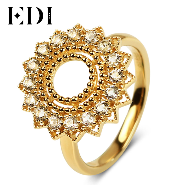 EDI 925 Sterling Silver 18K Gold Rings Natural White Topaz Wedding