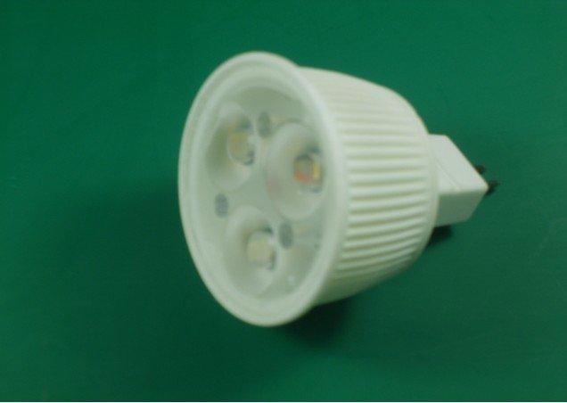 3*1W led bulb with ceramic housing,dia 49*47mm,MR16 base,DC12V input,warm white